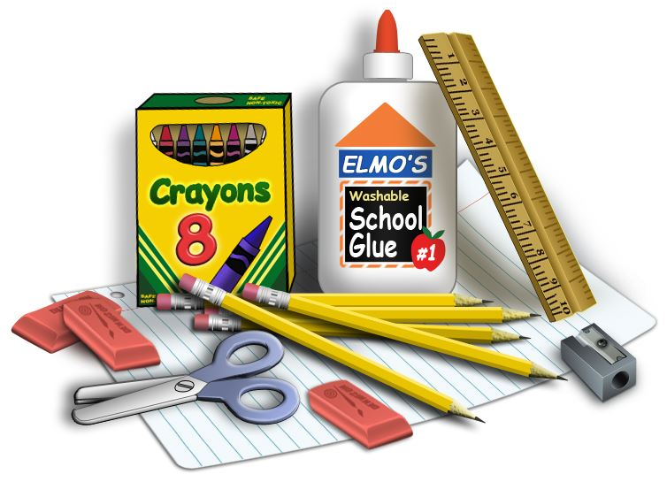 school supplies in a pile