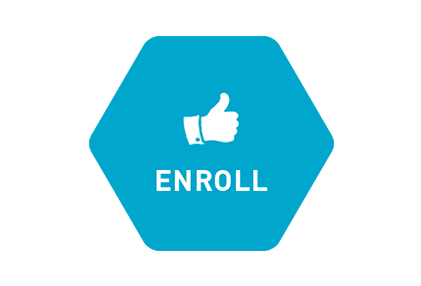 blue octagon with a thumbs up icon and text: enroll