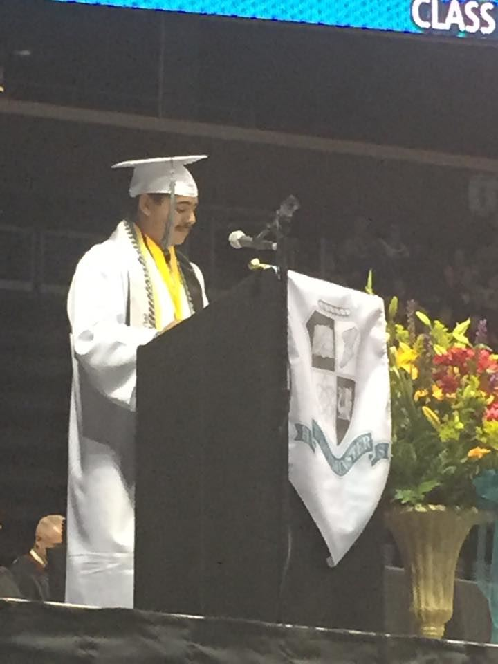 Student speaking at graduation