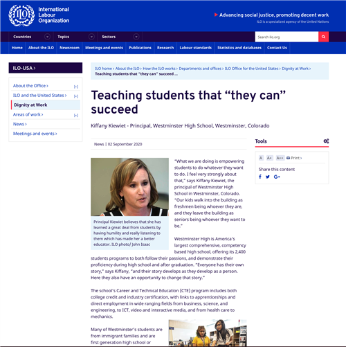 ILO article about Principal Kiewiet