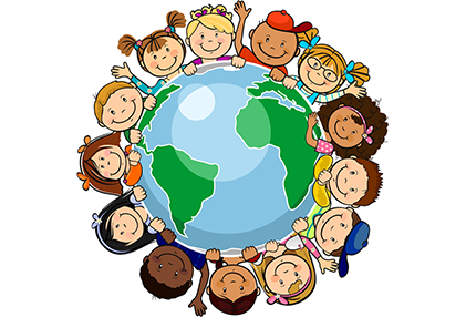 blue and green globe map of the world  surrounded by children from different nationalities