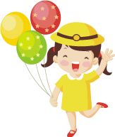 clipart of happy girl holding balloons