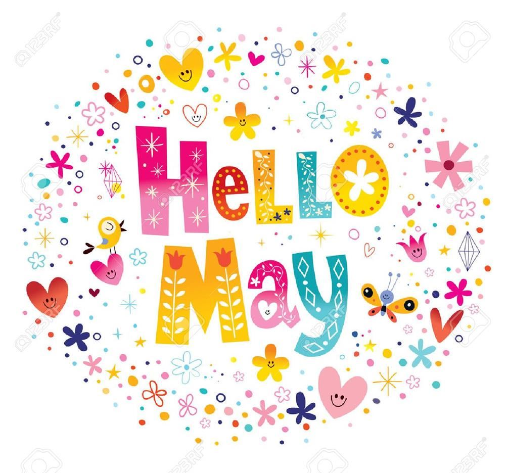 Hello May in colorful letters surrounded by red, pink, blue, yellow hearts flowers and stars