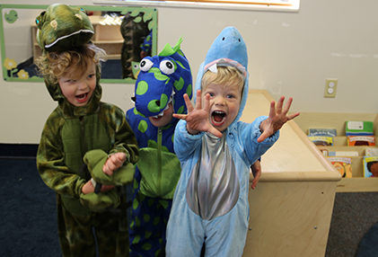 ELC at Perl Mack students in halloween costumes