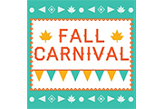 fall carnival in orange lettering with leaves and a orange and turquoise banner