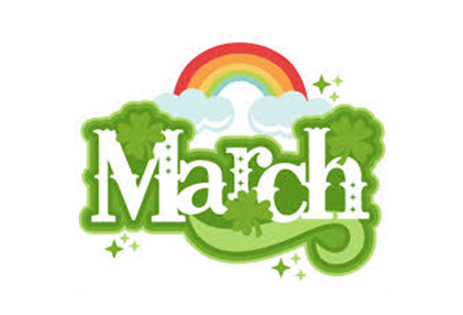 rainbow with cloud at each end with march in white letters decorated with green clovers