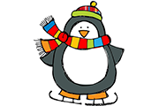 gray penguin ice skating wearing colorful snow hat and scarf