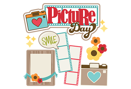 picture day in red letters with colorful flowers a camera film and bubble that says smile