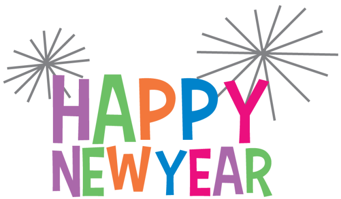 Happy New Year in colored lettering with colorful fireworks
