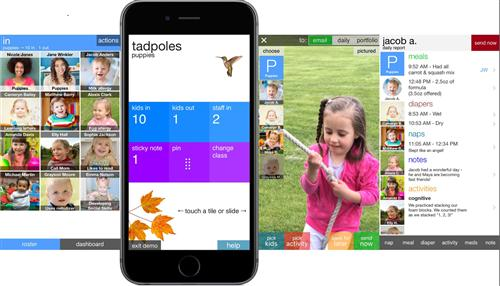 picture of what the tadpoles app looks like on a mobile phone