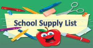 graphic of an apple with the title school supply list