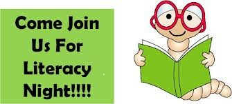 image of a worm holding a book; text: come join us for literacy night