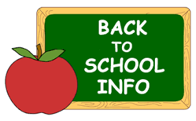 chalkboard and apple and text: back to school information