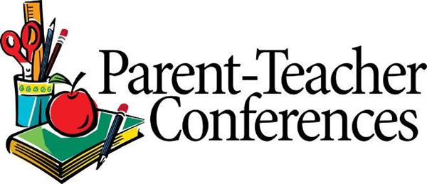image of books, an apple and pencils; text: parent-teacher conferences