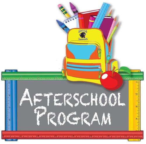 Sign with after school activity on chalk board, back pack, apple, crayons, and notebooks