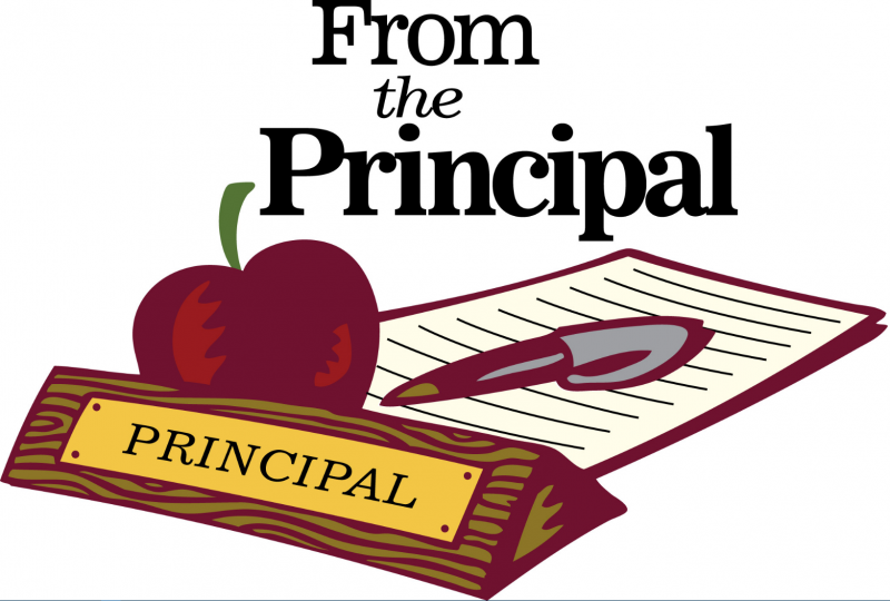 Paper, pen, red apple, principal name plate, from the principal