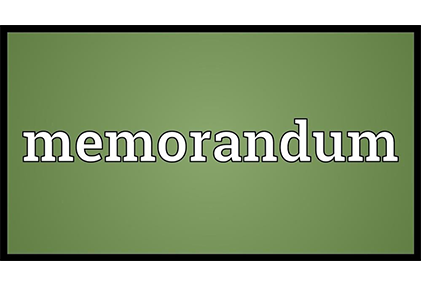 Green background, with white letters spelling memorandum