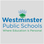 Westminster Public Schools logo with grey background.
